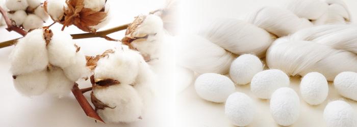 天然繊維のコットンとシルク